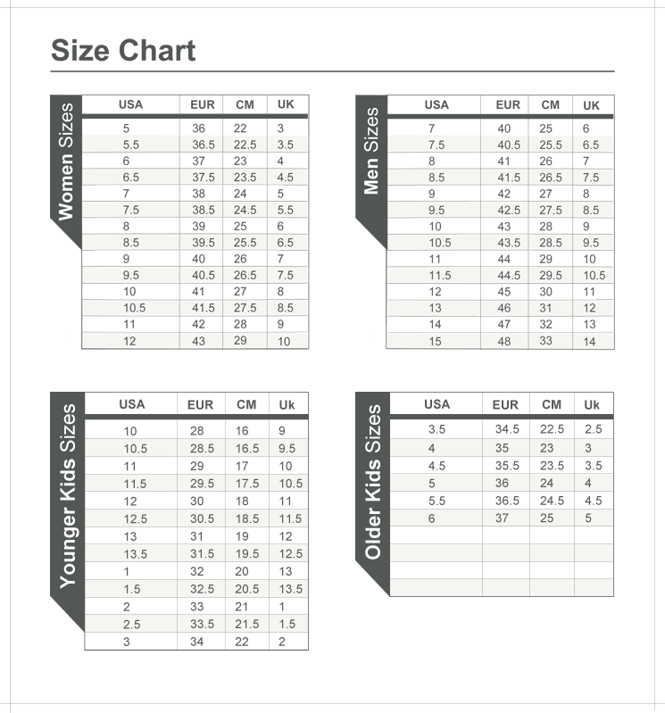 Ecco Baby Shoes Size Chart